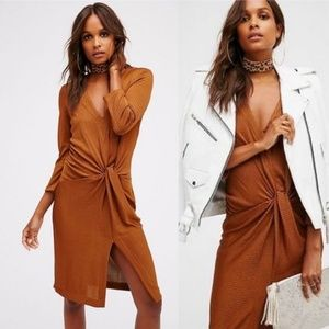 Free People Irene Twist ribbed midi rust dress